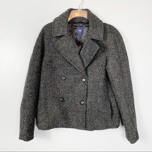 GAP NEW Wool Blend Grey Pea Coat Size S